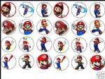 24 x Super Mario 1.6'' Edible Rice Wafer Paper Cup Cake Toppers